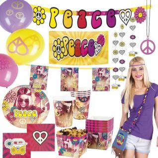 PEACE HIPPIE Motto Party Deko Set 60er 70er Jahre Flower Power - RIESENAUSWAHL-