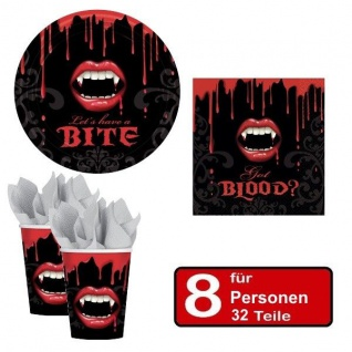 32 tlg. Halloween Party Set VAMPIR BISS Teller Becher Servietten für 8 Personen