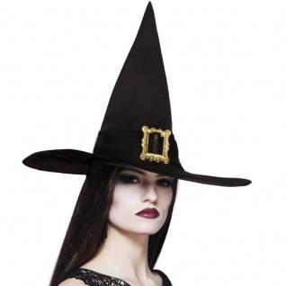 Hexenhut schwarz mit goldener Schnalle Kostüm Hexe Zauberer Hut Halloween #6900