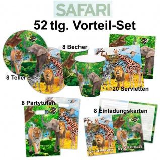 52 tlg. Vorteil-Set SAFARI Dschungel Kinder Geburtstag Party Deko -Teller Becher