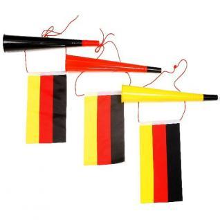 3 x FANTRÖTEN Deutschland mit Fahne Tröte 35 cm Party Fußball Sport Fan Artikel