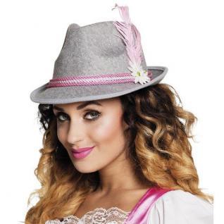 Bayernhut Trachtenhut Damen Tiroler Hut grau-pink Oktoberfest Dirndl Hut #4243