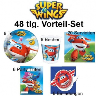 48tlg. Vorteil-Set SUPER WINGS Kinder Geburtstag Party Deko - Teller Becher
