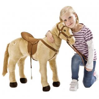 Happy People 58410 Pferd Plüschpferd 3-fach Sound beige stehend 100 kg tragkraft