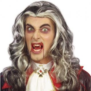 VAMPIR PERÜCKE Halloween Karneval Fasching Motto Graf Dracula Verkleidung