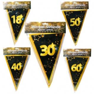 10 m Wimpel-Girlande 18 30 40 50 60 Geburtstag Jubiläum schwarz/gold Party Deko