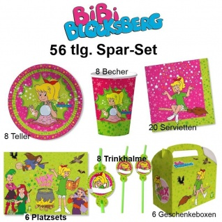 56 tlg. Spar-Set BIBI BLOCKSBERG Kinder Geburtstag Party Set - Teller Becher
