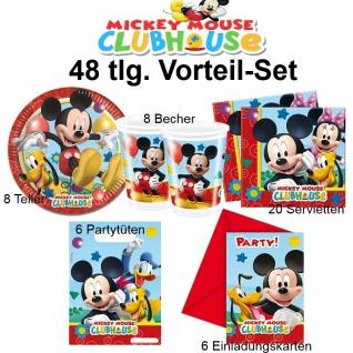 48tlg. Vorteil-Set Micky Maus Kinder Geburtstag Party Deko Teller Becher Mickey