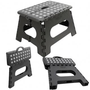 KLAPPHOCKER - SCHWARZ - Steighilfe klappbar Sitzhocker Klappstuhl bis 150 kg