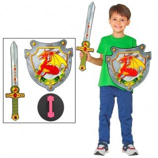 Kinder Ritter Set - Drachen Schwert + Schild - Schaumstoff Waffen Spielzeug
