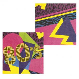 12er-Set Servietten für 80er Jahre Motto Party Deko Artikel Karneval Fasching