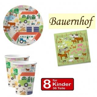 Party Set BAUERNHOF - Teller Becher Servietten - für 8 Kinder Geburtstag DHK