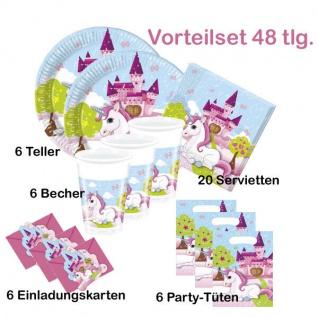 Kleines Einhorn 48 tlg. Party Teller Becher Servietten KINDER GEBURTSTAG