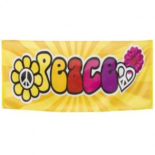 Hippie Banner Peace 70er Jahre Flower Power Deko Wanddeko Fahne 74x220cm