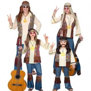 Hippie 60er 70er Familien-Kostüm Damen Herren Mädchen Jungen Love Flower Power