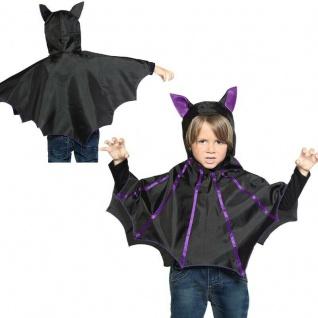 Fledermaus Umhang mit Kapuze Kinder Kostüm Gr. 110-116 Halloween Karneval #6897