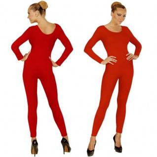 Einteiler Damen Body Overall Jumpsuit lang Sport rot, Langarm Gr. S/M M/L, XL