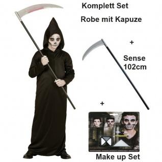 SENSEMANN + Sense + Make Up Set Kostüm Kinder Grim Reaper Tod Halloween Jungen