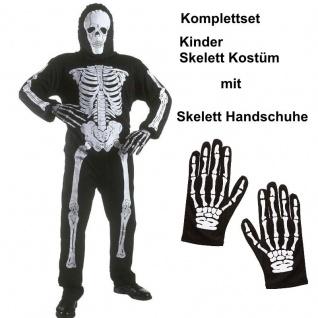 KINDER SKELETT mit HANDSCHUHE Gr.128-158 Halloween Kinderskelett Kostüm Gespenst