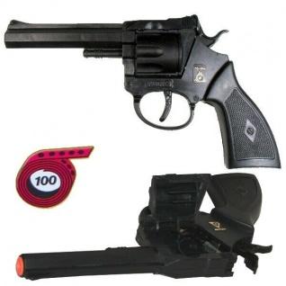 Revolver ROCKY Knall Pistole Kinder Spielzeug schwarz zum spielen / Karneval