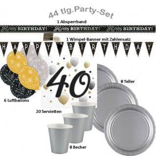 40. Geburtstag 44-tlg. Party Set - Happy Birthday - Teller Becher Wimpelkette