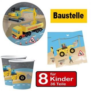 Party Set BAUSTELLE - Teller Becher Servietten - für 8 Kinder Geburtstag DHK