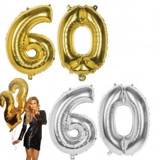 60.Geburtstag XXL FOLIENBALLON Zahl 86cm Gold /Silber Helium Luftballon Jubiläum