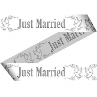 15 METER ABSPERRBAND JUST MARRIED HOCHZEIT DEKO PARTY GIRLANDE BANNER