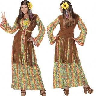 Happy Hippie Lady 60er 70er Jahre Damen Kostüm - Karneval Fasching Flower Power
