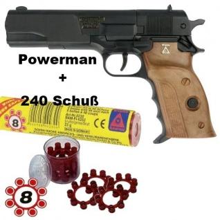 AGENT POWERMAN Knall-Pistole mit 240 Schuß Munition Kinder Spielzeug Revolver