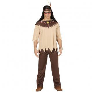 3 tlg. INDIANER Herren Kostüm Gr. S (48) Jacke, Hose, Stirnband - Karneval #0721