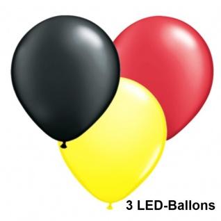 3 x LED BALLON schwarz rot gelb deutsche Deutschland Flagge Farbe Luftballon