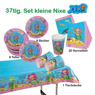 37tlg. Set Kleine Nixe Meerjungfrau Kinder Geburtstags Set Teller Becher Serviet