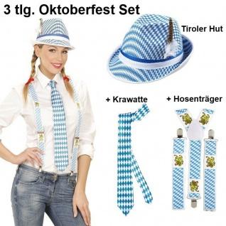 3tlg. OKTOBERFEST Damen Set - Tiroler Hut Krawatte Hosenträger - Bayern Wiesn