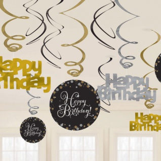 HAPPY BIRTHDAY SWIRL GIRLANDE Geburtstag Party - schwarz gold - Raum Deko #01177