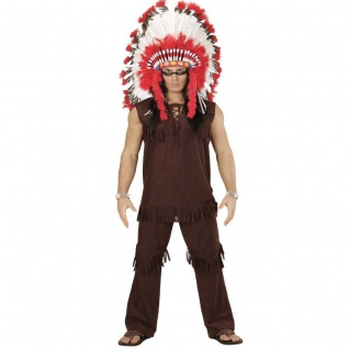 Herren Kostüm INDIANER HÄUPTLING Gr. L (52) - Apache Fasching Karneval # 5900