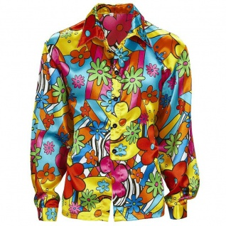 60er 70er Party Flower Power Hippie Herren Hemd Gr. M (50) Blümchenhemd Kostüm