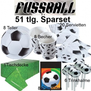 51 tlg. Spar-Set FUSSBALL für Kinder Geburtstag Party - Teller Becher Trinkhalme