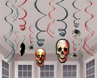12 DEKOSPIRALEN HORROR CLOWN Creepy Carnival Halloween Girlande Raum Deko