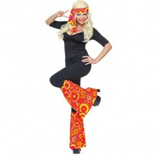 STIRNBAND UND STULPEN Damen Kostüm Set 70er Hippie Flower Power - Bubbels orange