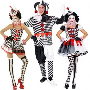 Harlekin Pierrot Clown Pantomime Kostüm Damen Herren - Partnerkostüm - Karneval
