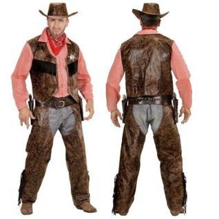 Cowboy Herren Western Kostüm Buffalo Bill - Weste mit Hemd + Chaps + Hut