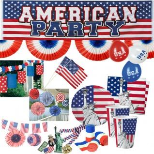 USA Stars Stripes Mottoparty Auswahl Party Geschirr Teller Becher Servietten