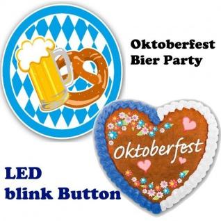Oktoberfest LED blink BUTTON Herz Brezel Bierkrug Anstecker oder als Tischdeko