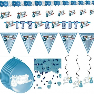 15 tlg. Deko Set GEBURT JUNGE Taufe Baby Puller Party Freudiges Ereignis - Set 1
