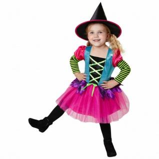 Buntes Kinder Hexen Kostüm - Kleid mit Hut - Halloween Karneval 104 110 116 128
