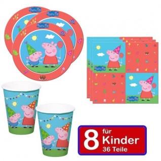 Peppa Wutz Pig Kinder Geburtstag Party - Teller Becher Servietten 8 Kinder 36tlg