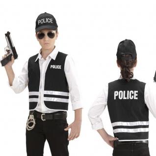 2 tlg. Polizei Set Kinder Police Kostüm - Weste + Cap - Gr. 140 für 8 - 10 Jahre