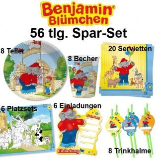 56tlg. Spar-Set BENJAMIN BLÜMCHEN Kinder Geburtstag Party Deko Teller Becher - Vorschau