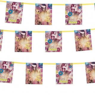 300 cm Flaggen Girlande Hippie Party 60er 70er Flower Power Deko Wimpelkette #54